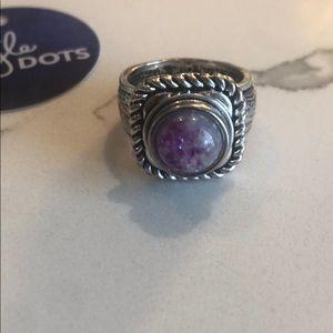 Stella & Dot ring with purple dot stone